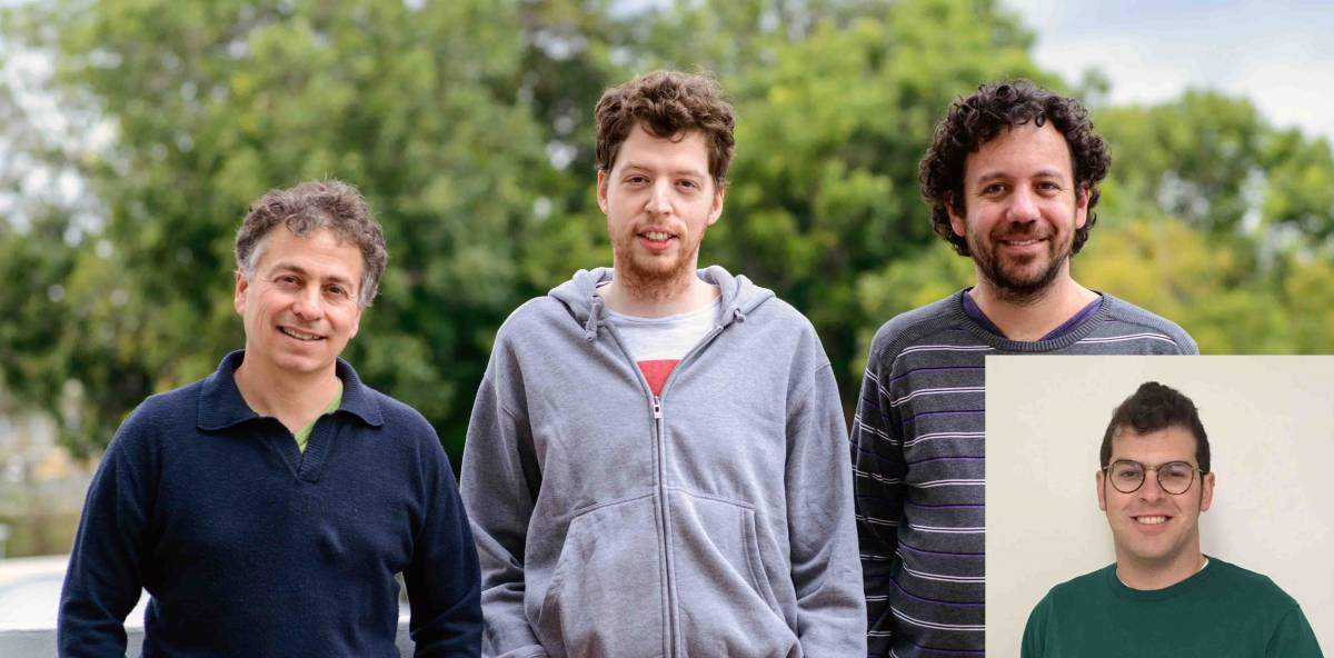 "(l-r) Prof. Yitzhak Pilpel, Idan Frumkin, Dvir Schirman and Aviv Rotman (inset) discovered how cells ""meter"" the speed on RNA strands"