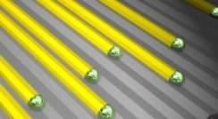 Illustration of nanowires growing along nanogrooves