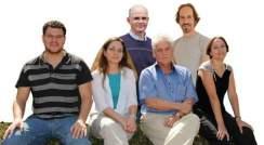 (l-r) Ronen Kreizman, Dr. Maya Bar Sadan, Profs. Daniel Wagner, Reshef Tenne and Ernesto Joselevich and Dr. Ifat Kaplan-Ashiri. Defect-free nanotubes