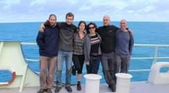 Seagoing research team (l-r) Uri Sheyn, Dr. Miguel Frada, Shlomit Sharoni, Daniella Schatz, Dr. Assaf Vardi and Dr. Yoav Lehan
