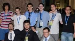 The Israeli Math Olympiad Team. Top: (l-r) Ofer Grossman, Nitzan Tur, Omri Solan, Amotz Oppenheim, Yoav Kraus andTom Kalvari. Bottom: Coaches Dan Carmon, Ilya Gringlaz and Lev Radzivilovsky