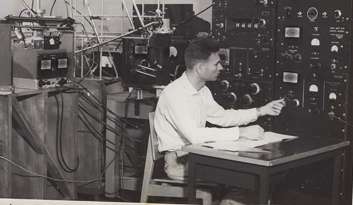 "Prof. Abraham ""Edek"" Blaugrund in his physics lab"